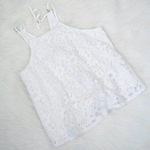 3/$20 Hollister White Lace Tank Top